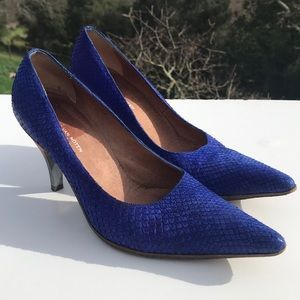 Dries Van Noten Blue Snakeskin Heels Italy 6.5